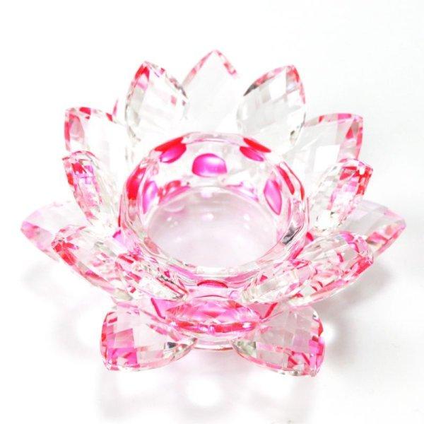 画像1: クリスタルガラス 蓮花台 お皿 中サイズ ピンクカラー 風水 置物 彫り物 品番:13306