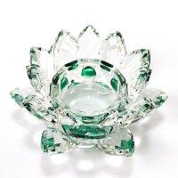 クリスタルガラス 蓮花台 お皿 中サイズ グリーンカラー 風水 置物 彫り物 品番:13304