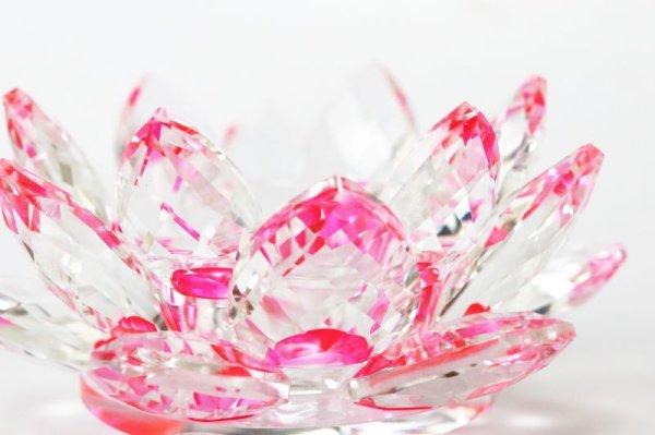 画像2: クリスタルガラス 蓮花台 お皿 中サイズ ピンクカラー 風水 置物 彫り物 品番:13306