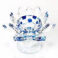 クリスタルガラス 蓮花台 お皿 大サイズ ブルーカラー 風水 置物 彫り物 品番:13312