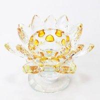 クリスタルガラス 蓮花台 お皿 大サイズ イエローカラー 風水 置物 彫り物 品番:13310
