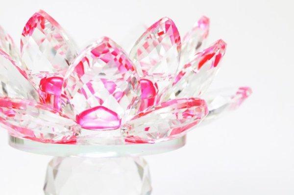 画像2: クリスタルガラス 蓮花台 お皿 大サイズ ピンクカラー 風水 置物 彫り物 品番:13313