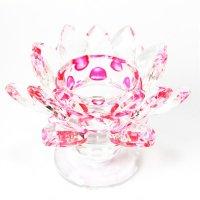 クリスタルガラス 蓮花台 お皿 大サイズ ピンクカラー 風水 置物 彫り物 品番:13313
