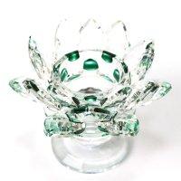 クリスタルガラス 蓮花台 お皿 大サイズ グリーンカラー 風水 置物 彫り物 品番:13311