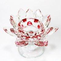 クリスタルガラス 蓮花台 お皿 大サイズ レッドカラー 風水 置物 彫り物 品番:13309