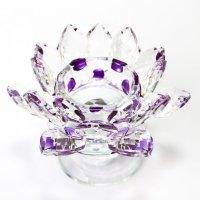 クリスタルガラス 蓮花台 お皿 大サイズ パープルカラー 風水 置物 彫り物 品番:13314