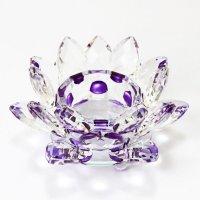 クリスタルガラス 蓮花台 お皿 中サイズ パープルカラー 風水 置物 彫り物 品番:13317