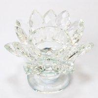 クリスタルガラス 蓮花台 お皿 大サイズ カラー無し(透明) 風水 置物 彫り物 品番:13316