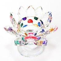 クリスタルガラス 蓮花台 お皿 大サイズ ミックスカラー 風水 置物 彫り物 品番:13315