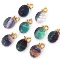 チャーム フローライト 亀の甲羅形 癒し 浄化 真鍮 パーツ 天然石 品番:13490