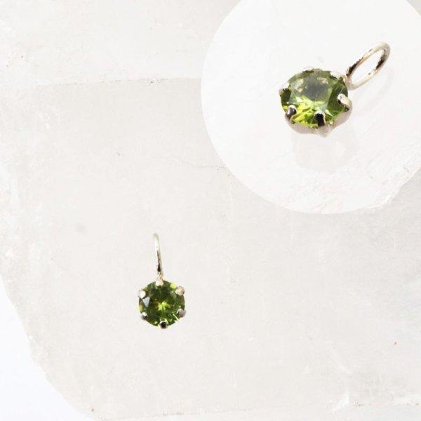 画像1: チャーム ペリドット プラチナ 4mm パキスタン産 太陽の宝石 陽の気 再生 ペンダントトップ ジュエリー 品番:13501