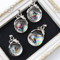 ペンダントトップ ティアラ アイリスクォーツ 虹入り水晶 シルバー 真鍮 アクセサリー ネックレス 品番:13513
