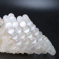ブレス セレナイト 丸 約8.5mm 中国産 ホワイト 精霊 月の女神 エネルギー 浄化 癒し 品番:13549