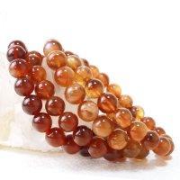 ブレス プラジオクレースムーンストーン 濃い 丸 約8mm チベット産 ブラウン 美しい 天然石 品番: 13553