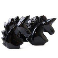 置物 彫り物 ユニコーン オブシディアン 黒 ブラック 魔除け 恋愛運 結婚運 品番:13583