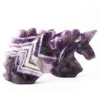 置物 彫り物 ユニコーン アメジスト 紫 癒し 浄 2月誕生石 恋愛運 結婚運 品番:13576