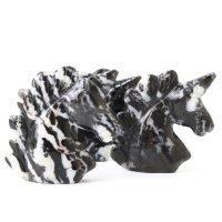 置物 彫り物 ユニコーン スノーフレークオブシディアン 黒曜石 優しさ 魔除け 厄除け 仕事運 品番:13581