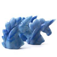 置物 彫り物 ユニコーン メノウブルー 染め 癒し 守護 健康 恋愛運 結婚運 品番:13586
