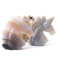置物 彫り物 ユニコーン メノウ アゲート 癒し 守護 健康 恋愛運 結婚運 品番:13582