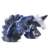 置物 彫り物 ユニコーン ソーダライト 知性の石 忍耐力 判断力 直観力 天然石 品番:13585
