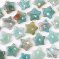 置物 スター 星 アマゾナイト 希望の石 行動の石 彫り物 インテリア 天然石 品番:13594