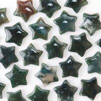 置物 スター 星 モスアゲート 健康 癒し 彫り物 インテリア 天然石 品番:13593