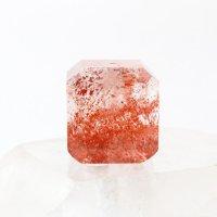天然石パーツ ファイアークォーツ 赤 レッド 穴あり レピドクロサイトインクォーツ 力強さ 前進 自信 決断力 品番: 13642