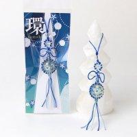 ストラップ  プリントストーン 水晶 環 たまき 朝顔 編み紐 マクラメ編み パワーストーン 品番:13674