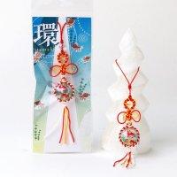ストラップ  プリントストーン 水晶 環 たまき 金魚 編み紐 マクラメ編み パワーストーン 品番:13675