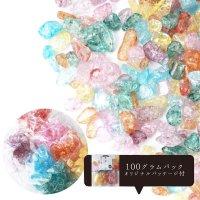 さざれ 爆裂水晶 クラック水晶 7カラー 小分けパック オリジナルパッケージ付 100gパック 浄化 開運 厄除け 品番: 13678