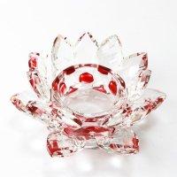 クリスタルガラス 蓮花台 お皿 中サイズ レッドカラー 風水 置物 彫り物 品番: 5702