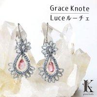 Grace Knote グレースノート Luce ルーチェ ピンクトパーズ SV ハンドメイド ピアス 手編みレース 天然石 シルバー 品番: 13783