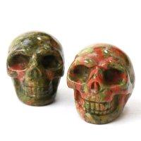 置物 彫り物 スカル 髑髏 ドクロ ユナカイト 緑簾石 癒し インテリア 天然石 品番: 13789