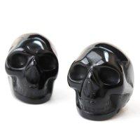 置物 彫り物 スカル 髑髏 ドクロ オブシディアン 黒 ブラック 魔除け インテリア 天然石 品番: 13794