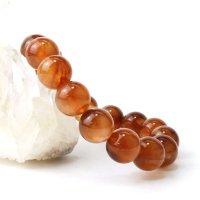 ブレス プラジオクレースムーンストーン 丸 約14mm チベット産 ブラウン 美しい 天然石 品番: 14096