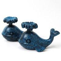 丸玉台 台座 クジラ 鯨 くじら ブルー 青 約6cm 1個 樹脂 強運 幸福 丸玉台座 ディスプレイ 品番: 14117