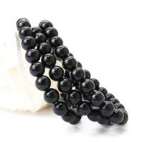 ブレス バイオタイト 丸 約8mm 黒 タンザニア産 自信 希望 健康 天然石 品番:14257
