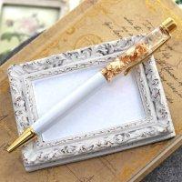 金箔入りボールペン ホワイトカラー  品番: 9772