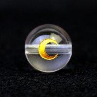 【オリジナル商品】カービング 占星術 月 水晶(金彫り) 12mm  品番: 10747