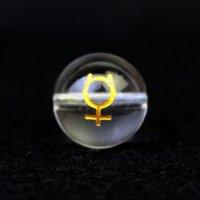 【オリジナル商品】カービング 占星術 水星 水晶(金彫り) 12mm  品番: 10749