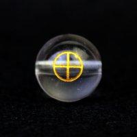 【オリジナル商品】カービング 占星術 地球 水晶(金彫り) 12mm  品番: 10751