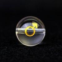 【オリジナル商品】カービング 占星術 火星 水晶(金彫り) 12mm  品番: 10752