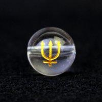 【オリジナル商品】カービング 占星術 海王星 水晶(金彫り) 12mm  品番: 10756