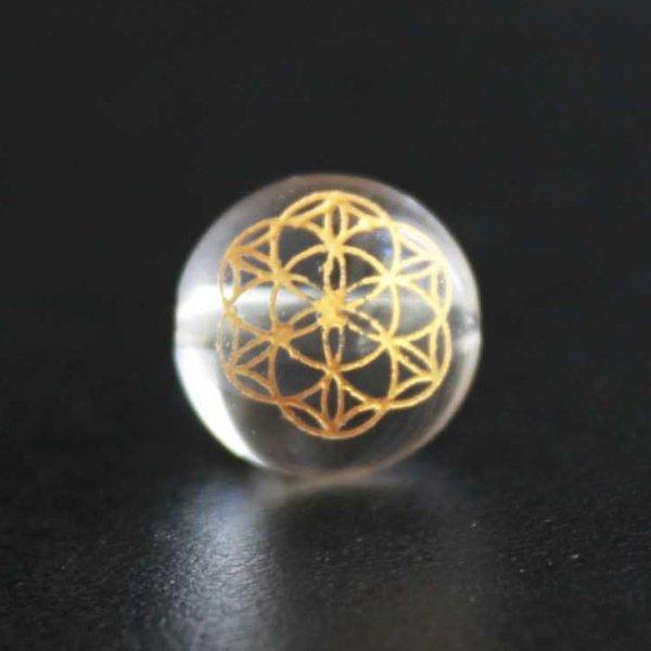 画像1: 【オリジナル商品】カービング 神聖幾何学模様 フラワーオブライフ 水晶(金彫り) 14mm  品番: 11917