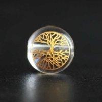 【オリジナル商品】カービング 神聖幾何学模様 ツリーオブライフ 水晶(金彫り) 12mm  品番: 4600