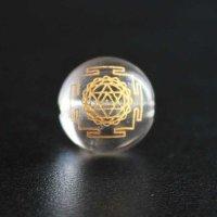 【オリジナル商品】カービング 神聖幾何学模様 ヤントラ 水晶(金彫り) 12mm  品番: 5993