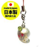 鈴勾玉の桜ストラップ パールホワイト【日本製】  品番: 8383